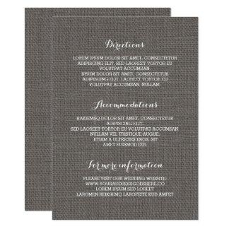 Informação de detalhes rústica do casamento de convite 11.30 x 15.87cm