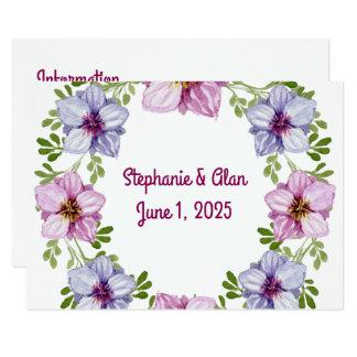 Informação floral cor-de-rosa roxa do casamento da convite 8.89 x 12.7cm