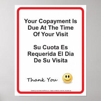 Inglês-espanhol do doutor Escritório Copayment Poster