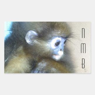 Iniciais marrons bonitos NMB do macaco nenhuns Adesivo Em Formato Retângular