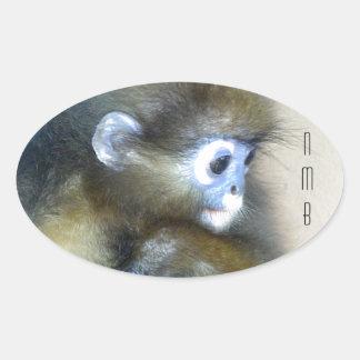 Iniciais marrons bonitos NMB do macaco nenhuns Adesivos Em Formato Ovais