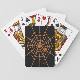 Iniciais pretas alaranjadas da aranha e da Web Jogo De Baralho