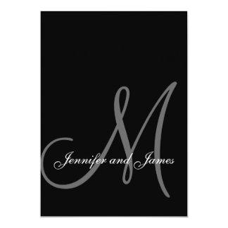 Inicial branca preta elegante dos convites do convite 12.7 x 17.78cm