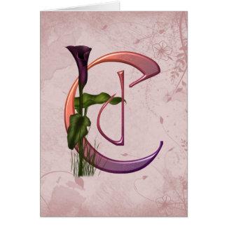 Inicial colorida C do Calla Cartão