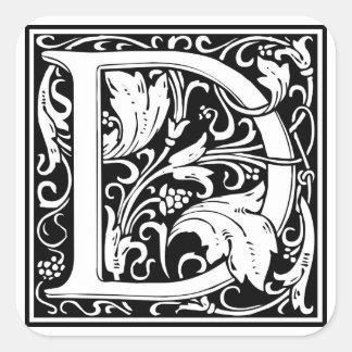 Inicial decorativa D da letra Adesivos
