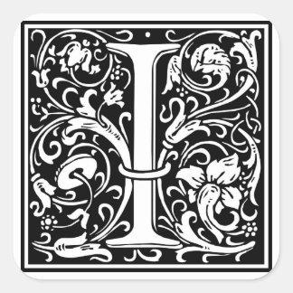 """Inicial decorativa da letra """"eu"""" adesivo quadrado"""