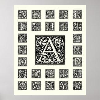 Inicial decorativa de Woodblock do Woodcut da letr Poster