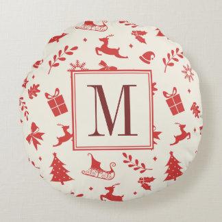 Inicial decorativa do monograma do feriado do almofada redonda