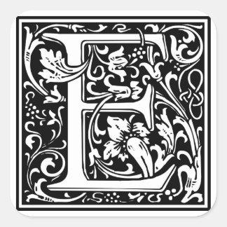 Inicial decorativa E da letra Adesivos Quadrados
