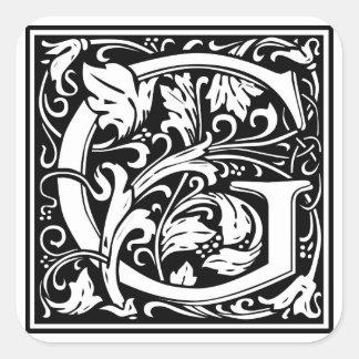 """Inicial decorativa """"G"""" da letra Adesivo Quadrado"""