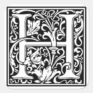 Inicial decorativa H da letra Adesivos Quadrados