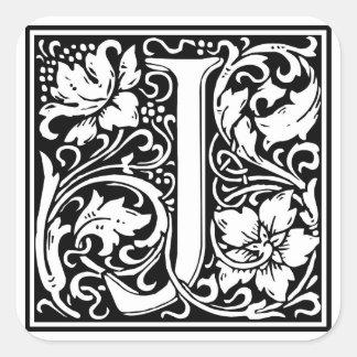 """Inicial decorativa """"J"""" da letra Adesivo Quadrado"""