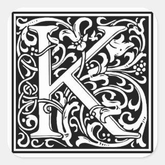 """Inicial decorativa """"K"""" da letra Adesivo Quadrado"""