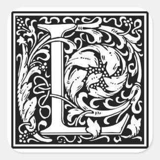 Inicial decorativa L da letra Adesivo Em Forma Quadrada