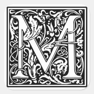 """Inicial decorativa """"M"""" da letra Adesivo Quadrado"""
