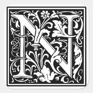 Inicial decorativa N da letra Adesivo