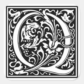 Inicial decorativa Q da letra Adesivos Quadrados
