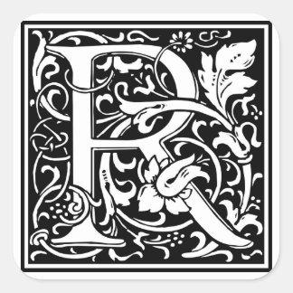 Inicial decorativa R da letra Adesivo Em Forma Quadrada