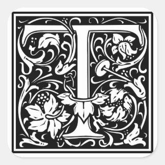 Inicial decorativa T da letra Adesivo Em Forma Quadrada