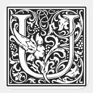 """Inicial decorativa """"U"""" da letra Adesivo Em Forma Quadrada"""