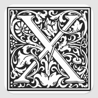 Inicial decorativa X da letra Adesivo Quadrado