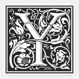Inicial decorativa Y da letra Adesivo Quadrado