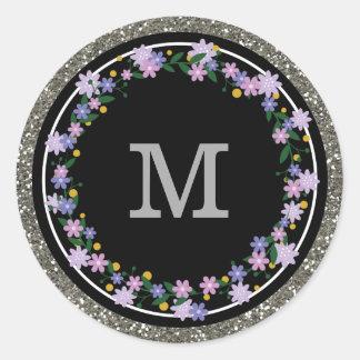 Inicial floral do monograma do brilho da prata da adesivo