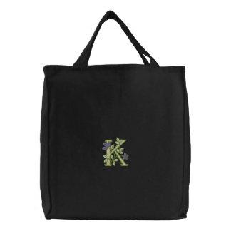 Inicial K do monograma da flor Bolsas Para Compras