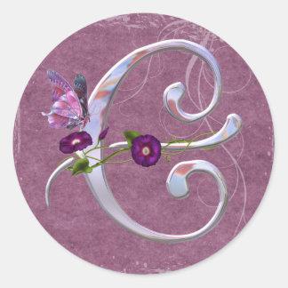 Inicial preciosa C da borboleta Adesivo