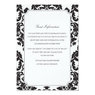 Inserção clássica do casamento tema damasco convite 11.30 x 15.87cm