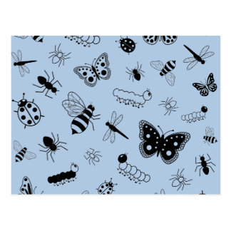 Insetos bonitos do vetor & borboletas (os azul-céu cartões postais