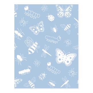 Insetos do vetor & borboletas brancos (os azul-céu cartão postal