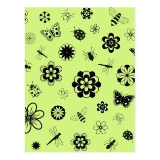 Insetos do vetor & flores (verde de grama da cartoes postais