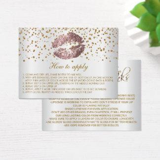 Instruções empoeiradas da aplicação dos lábios do cartão de visitas