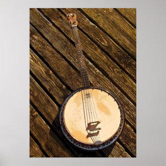 Instrumento de música do banjo no poster de