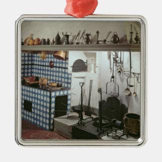 Interior da cozinha do hotel de Cabris Ornamento Quadrado Cor Prata