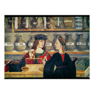 Interior de uma farmácia poster