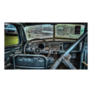 Interior do stock car do vintage pôsteres