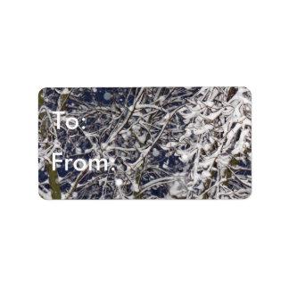 Inverno da árvore do blizzard para/desde o Tag do Etiqueta De Endereço