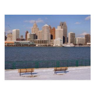 inverno em detroit cartão postal