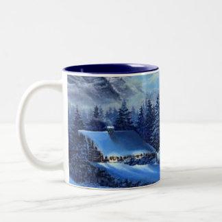 inverno frio, café quente caneca dois tons