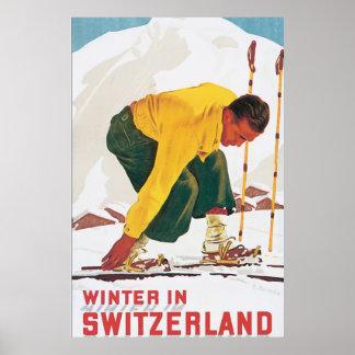 Inverno no poster das viagens vintage da suiça pôster