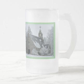 Inverno santamente caneca de vidro fosco