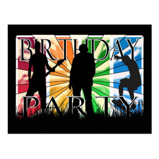 Inviation da festa de aniversário com patinador, cartão postal