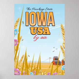 """Iowa EUA """"cartaz do viagem dos desenhos animados Pôster"""
