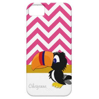 iPhone 5 de Chevron do rosa quente de Toucan mal Capa Barely There Para iPhone 5