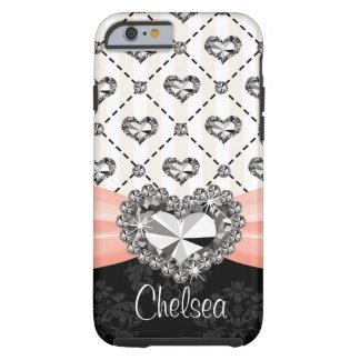 iPhone cor-de-rosa 6 do coração do cristal de Capa Tough Para iPhone 6