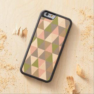 iPhone de madeira geométrico retro festivo 6 Capa De Carvalho Bumper Para iPhone 6