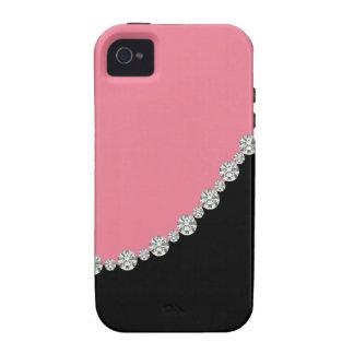 iPhone feminino 4 do rosa & do carvão
