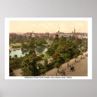 Ireland - parque verde de Stephens, cidade de Dubl Poster